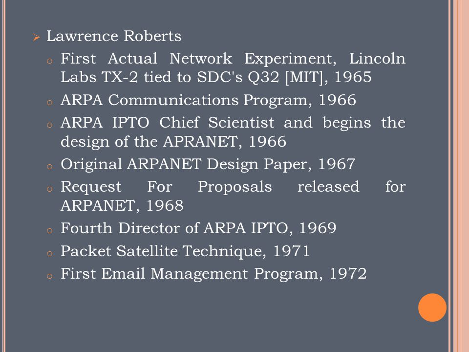 Lawrence Roberts First Actual Network Experiment, Lincoln Labs TX-2 tied to SDC s Q32 [MIT], 1965.